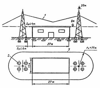 Рисунок А.7 - Молниезащита здания 1-й категории отдельно стоящими двойными стержневыми молниеотводами.